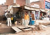Fast Food Restaurant Built Over Sewer On Street Market.