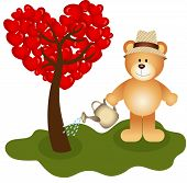 Teddy bear watering tree love