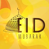 Beautiful greeting card with Stylish mosque design and text Eid Mubarak on bright yellow background.