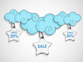 Monsoon 20%, and 50% discount sale tags hanging from blue clouds.