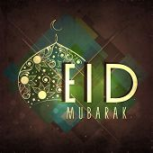 Golden floral decorated mosque and stylish text Eid Mubarak on abstract background for Muslim community festival celebrations.