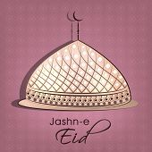 Beautiful shiny mosque on abstract peach background for Muslim community festival Jashn-e-Eid celebr