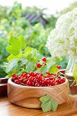 Ripe Red Currants In Wooden Bowl And Bouquet Of White Garden Flowers