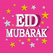 Greeting card design with golden and silver stars on pink background for holy month of muslim commun