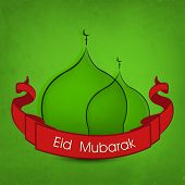 Beautiful mosques with red ribbon on green background for Muslim community festival Eid Mubarak cele