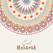 Beautiful floral decorated colourful greeting card design for the Muslim community festival Eid Muba