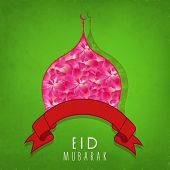 Beautiful pink roses decorated mosque with red ribbon on green background for Muslim community festi