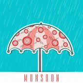 Stylish monsoon season background with pink open umbrella on heavy raining background.
