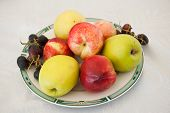 Various fruits on plate. Fresh and colored apples, grapes and nectarines on white table