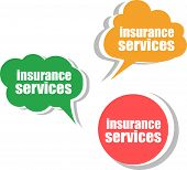 Insurance Services, Set Of Stickers, Labels, Tags. Template For Infographics