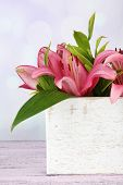 Beautiful lily in crate on table on bright background