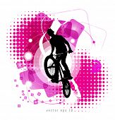 Urban grunge background design with bmx biker silhouette.