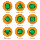 gems icons vector set