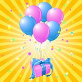 Gift with the bunch of balloons on yellow background