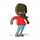 cartoon bearded man shrugging shoulders