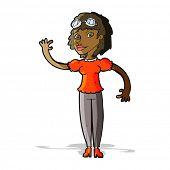cartoon pilot woman waving