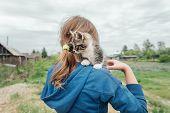 Girl With Curiosity Kitten