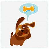 cute cartoon dog is thinking bone - vector illustration