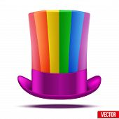 Striped of rainbow big gentleman hat cylinder