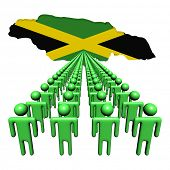 Lines of people with Jamaica map flag illustration