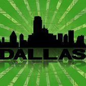 Dallas skyline reflected with green dollars sunburst illustration