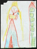 Original child's drawing of a princess next to the multistory house drawing by a five-year-old girl.