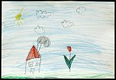 Original child's drawing of a house and a flower drawing by a five-year-old girl.