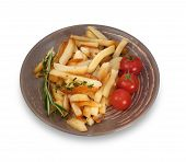 Cherry Tomatoes, Fried Potatoes And Branch Of Rosemary Isolated