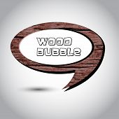 Brown wood speech bubble on the background