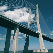 The Vasco da Gama Bridge with filter effect.