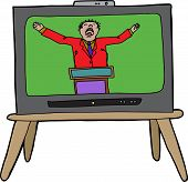 image of preacher  - Loud preacher man in red on television - JPG