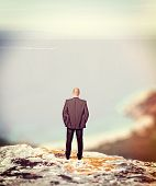 standing businessman on cliff looking the sea