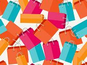 Sale seamless pattern with shopping bags in flat design style.