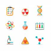 foto of gene  - Scientific chemistry laboratory equipment of retort glass atom dna symbols icons set isolated vector illustration - JPG