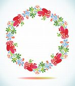 watercolor floral wreath with paper cut flower  Greeting card background