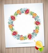 Summer watercolor floral wreath with paper flower on wood planks Greeting card background