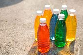 Color, Bright Creative Background. Colored Bottles