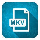 mkv file flat icon, christmas button