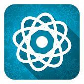 atom flat icon, christmas button