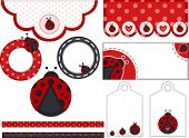 Illustration of Different Items Decorated with Lady Bug Patterns