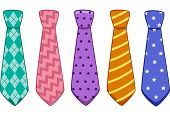 Illustration of Neckties With Different Colors and Patterns
