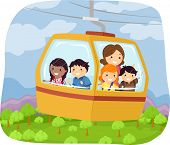 Illustration of Kids Riding a Cable Car to School