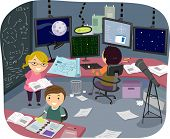Illustration of Kids Working on Their Individual Researches in the Research Room