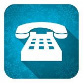 phone flat icon, christmas button, telephone sign