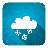 snowing flat icon, christmas button, waether forecast sign