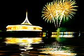 Fireworks On The Black Sky Background With Reflection On Water At Suanluang Rama Ix  Thailand