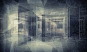 Abstract Dark Blue Digital 3D Interior Background