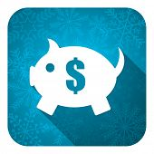 piggy bank flat icon, christmas button