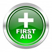 first aid icon, green button