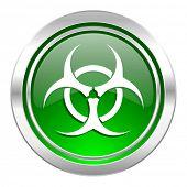 biohazard icon, green button, virus sign